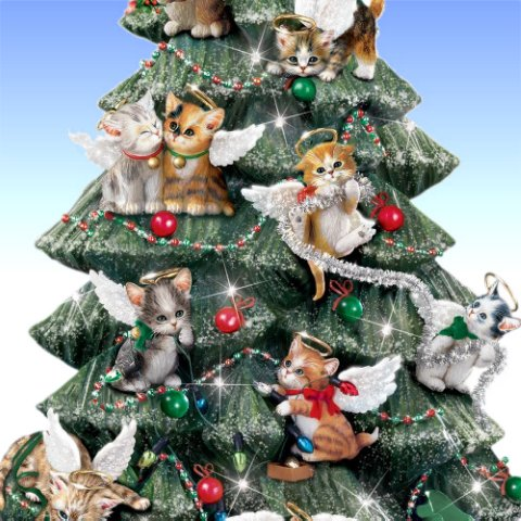 Cat Lover's Illuminated Tabletop Christmas Tree: Purr-fect Holiday - detail