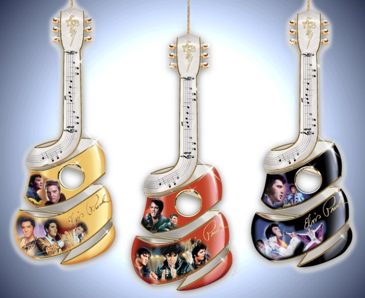 Elvis Guitar Swirl Ornament Collection: Sets Of Three