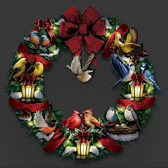 Merry Melodies Lighted Songbird Wreath Plays Medley Of Christmas Carols - dark