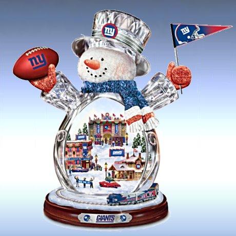 New York Giants Masterpiece Edition Crystal Snowman Figurine