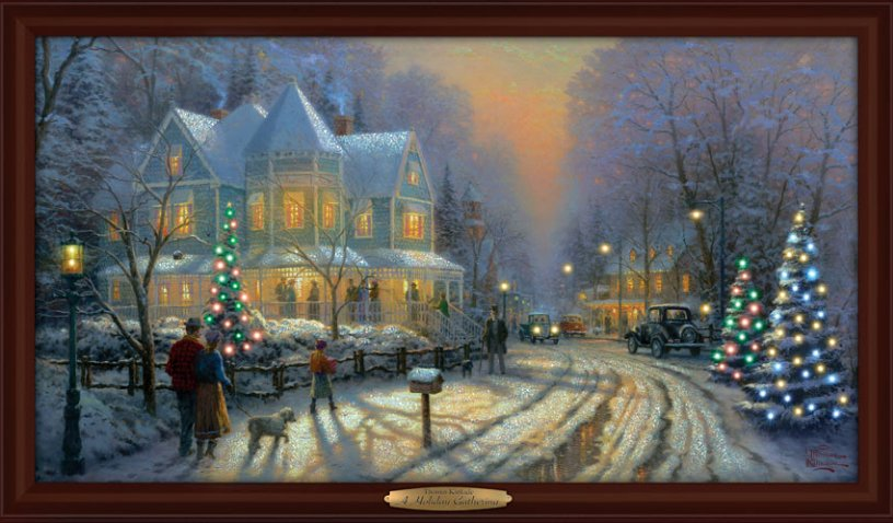 Thomas Kinkade Authentic Canvas Print: A Holiday Gathering