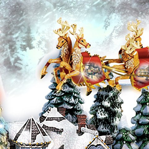Thomas Kinkade And To All A Good Night Christmas Sculpture - detail