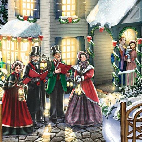 Thomas Kinkade Christmas Village Set With Singing Carolers - detail