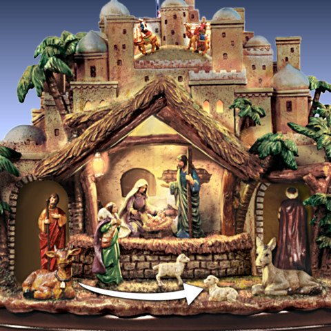 Thomas Kinkade Following The Star Nativity Sculpture - detail