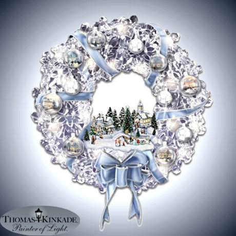 Kinkade Lighted Crystalline Wreath With Ornaments: Holiday Brilliance