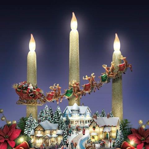 thomas kinkade the lights of christmas illuminating village table centerpiece detail