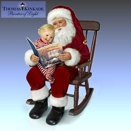 Thomas Kinkade The Night Before Christmas Story-Telling Santa Doll Set With Rocking Chair
