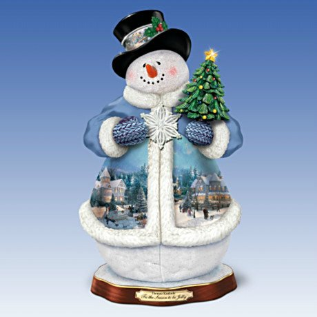 Thomas Kinkade 'Tis The Season To Be Jolly Christmas Musical Snowman Figurine: Lights Up!