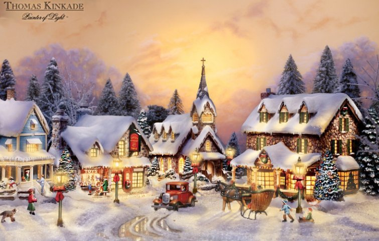 Image result for thomas kinkade christmas and christmas village paintings