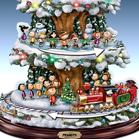 A PEANUTS Christmas Tabletop Tree With Lights, Music And Motion (Moving Train, Skaters and Snoopy)