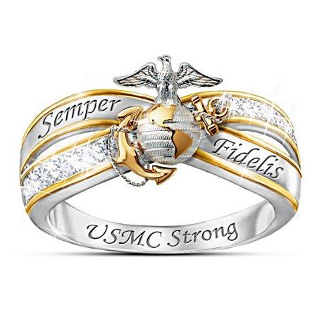Always USMC 18K-Gold Plated Engraved Topaz Women's Ring