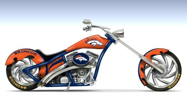 Denver Broncos Cruiser Motorcycle Figurine