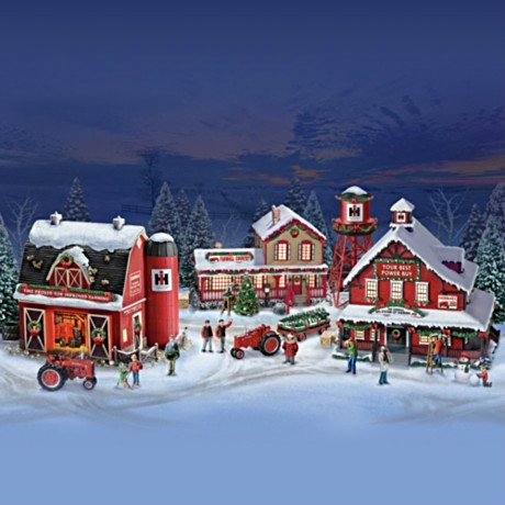 Farmall Illuminated Holiday Village Collection with Sculpted Tractors