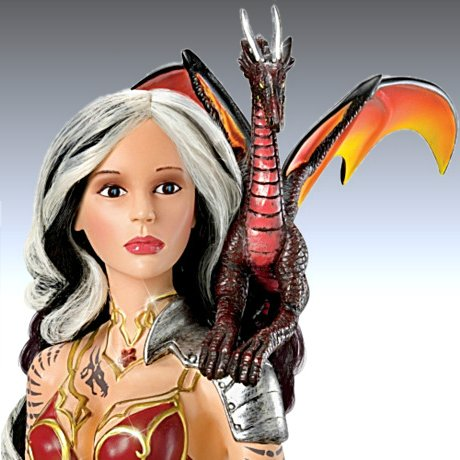 Flaming Fantasy Doll with Dragon - detail