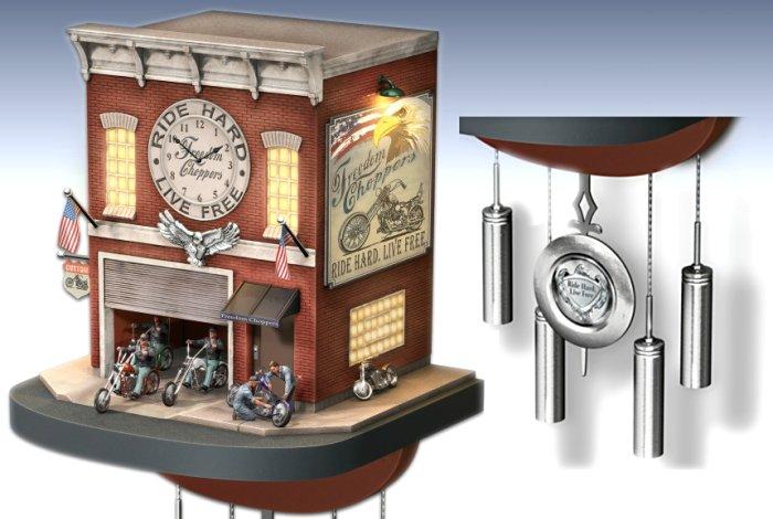 Cuckoo Clock: Freedom Choppers Motorcycle Garage Cuckoo Clock - Details