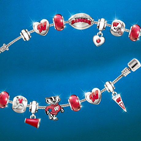 Wisconsin Badgers #1 Fan Charm Bracelet: Go Badgers!