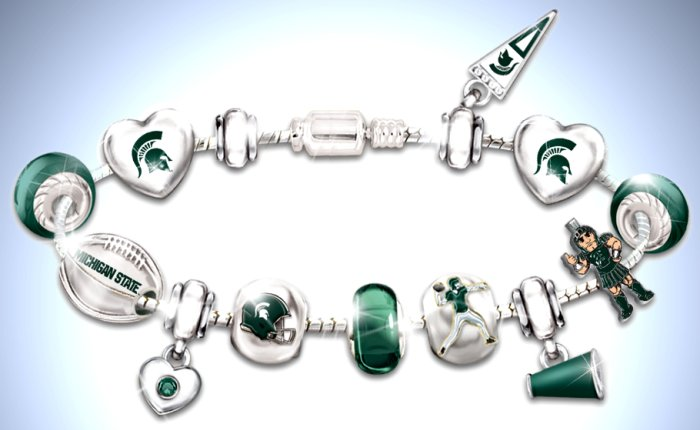 Go Michigan State Spartans! #1 Fan Charm Bracelet