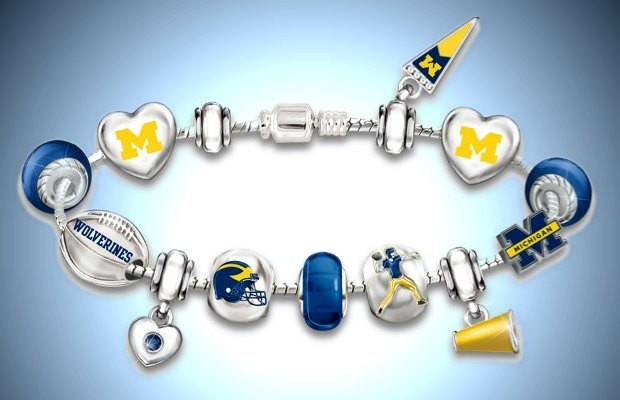 Michigan Charm Bracelet: Go Wolverines! #1 Fan