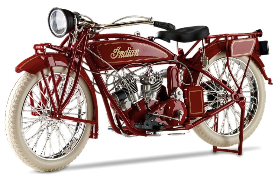 Hand-Painted Indian Motorcycle 1:6-Scale 1920 Diecast Motorcycle - view from left