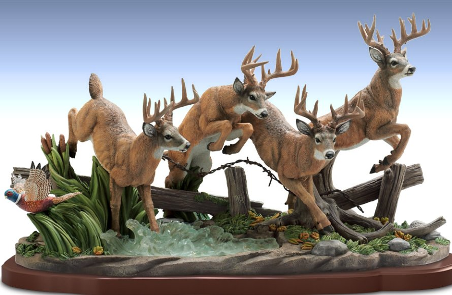 Hand-Painted White Tail Buck Dash Masterpiece Sculpture