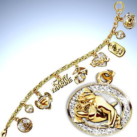 I Love My Marine Charm Bracelet: Marine Jewelry Gift