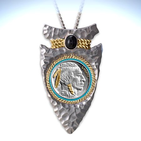 Men's Necklace: Indian Head Nickel Arrowhead Pendant Necklace