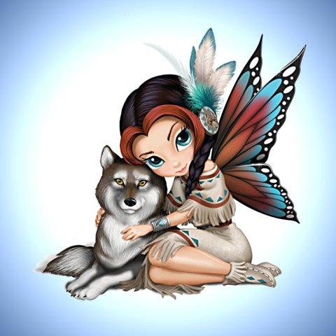 Jasmine Becket-Griffith Moonbeam, The Spirit Of Wisdom Wolf And Fairy Figurine