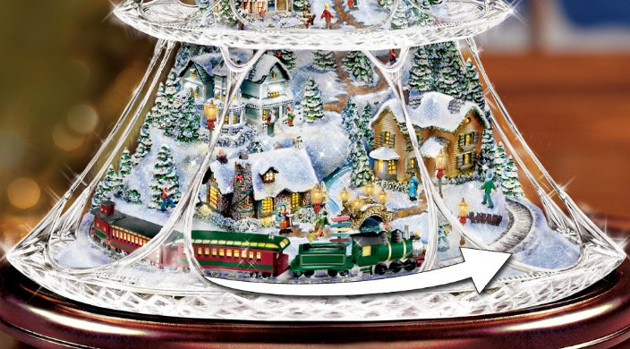 Thomas Kinkade Animated Crystal Tabletop Christmas Tree: Holiday Reflections - detail