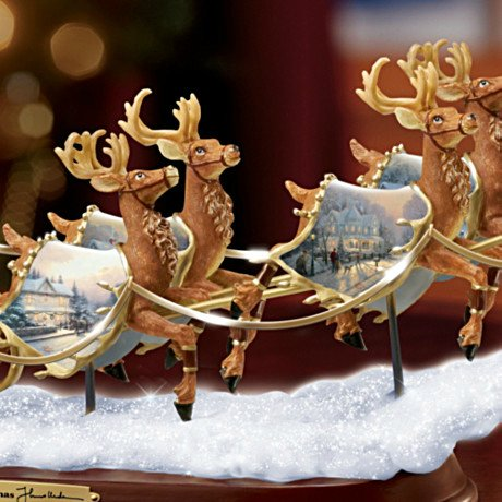 Thomas Kinkade Santa's Sleigh Illuminated Figurine: The Night Before Christmas - detail