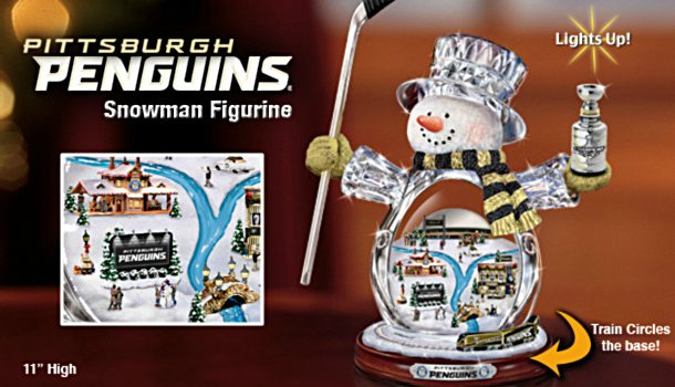 NHL Pittsburgh Penguins Crystal Snowman Figurine