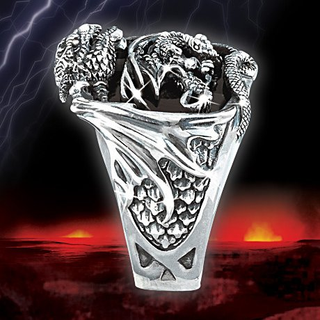 Realm Of The Dragon Sterling Silver Ring: Men's Fantasy Jewelry - side view