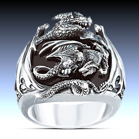 Realm Of The Dragon Sterling Silver Ring: Men's Fantasy Jewelry - top view