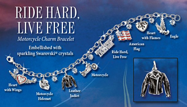 Motorcycle Jewelry With Symbols Of Freedom: Ride Hard, Live Free Charm Bracelet