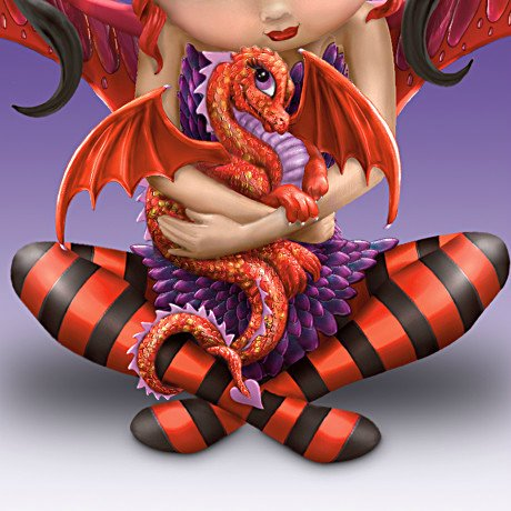 Fairy And Dragon Figurine: Ruby - detail