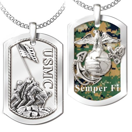 Men's Pendant And Necklace: Semper Fi Reversable Pendant Necklace