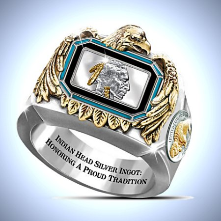 Silver Indian Head Ingot With 24K-Gold Plating Ring
