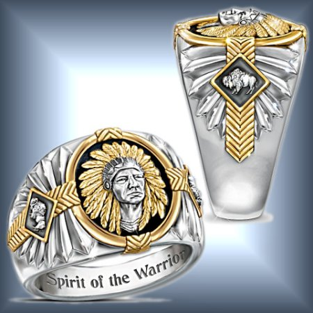 Spirit Of The Warrior Native American-Inspired Onyx And Stainless Steel Ring