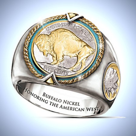 The Buffalo Nickel U.S. Coin Men's Ring Showcasing American Bison