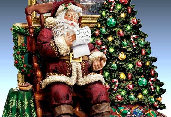 Thomas Kinkade The Joy Of Christmas Collectible Santa Claus Animated Musical Figurine - detail