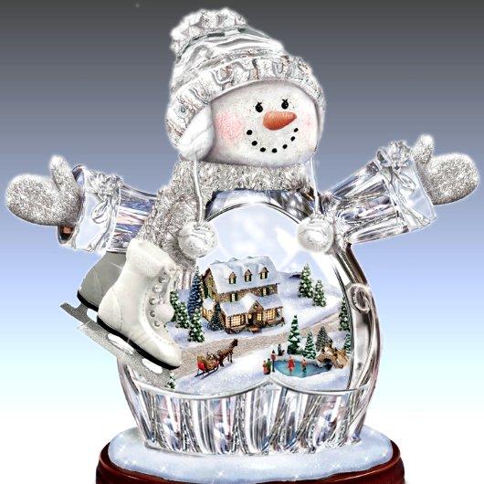 Thomas Kinkade - Winter Wonderland - Crystal Snow Girl Figurine: Lights Up!