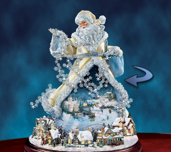 Thomas Kinkade Illuminated Rotating Musical Santa Claus