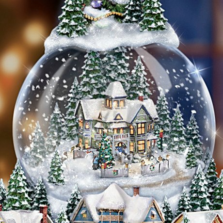 Thomas Kinkade Wondrous Winter Musical Tabletop Christmas Tree With Snowglobe: Lights Up! Detail