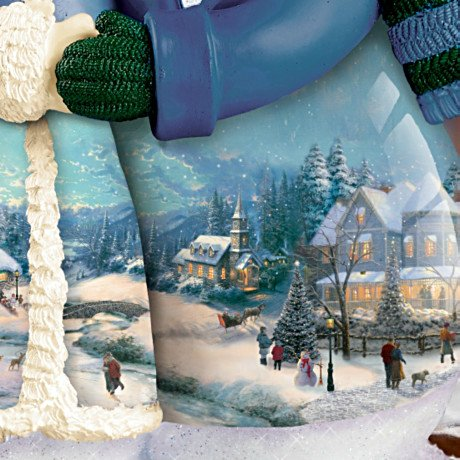 Thomas Kinkade Musical Snowman Figurine: Snow Happy Together - detail