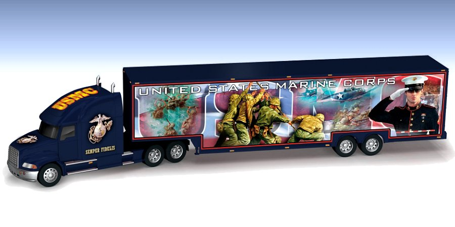 USMC Proud To Serve 1:64-Scale Hauler With Detachable Trailer