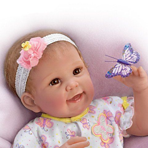 Butterfly Kisses & Flower Petal Wishes Vinyl Baby Doll - detail