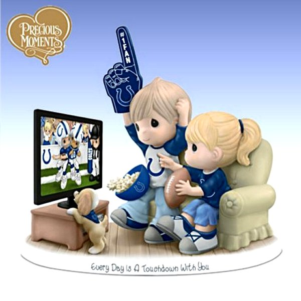 Precious Moments Every Day Is A Touchdown With You Colts Figurine