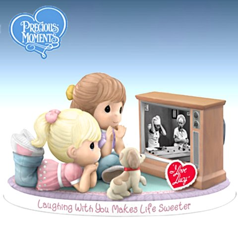 I LOVE LUCY Precious Moments Laughing With You Makes Life Sweeter Figurine With Lucy And Ethel