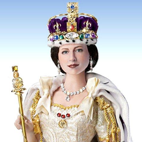 Queen Elizabeth II Commemorative Coronation Portrait Doll - detail