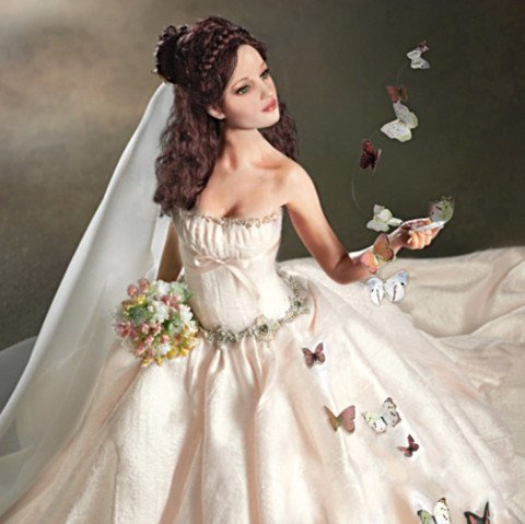 Wishes On Wings Of Love Bride Doll - detail
