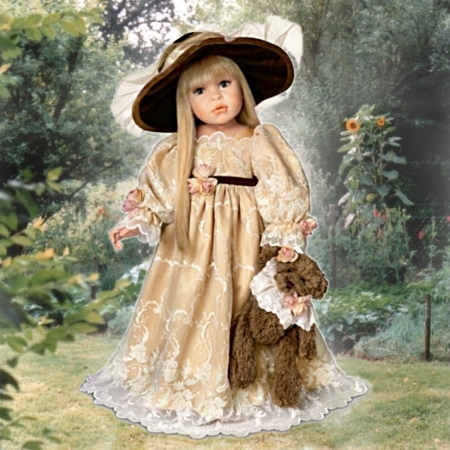 Victorian-Style Child Doll With Dressed Teddy Bear